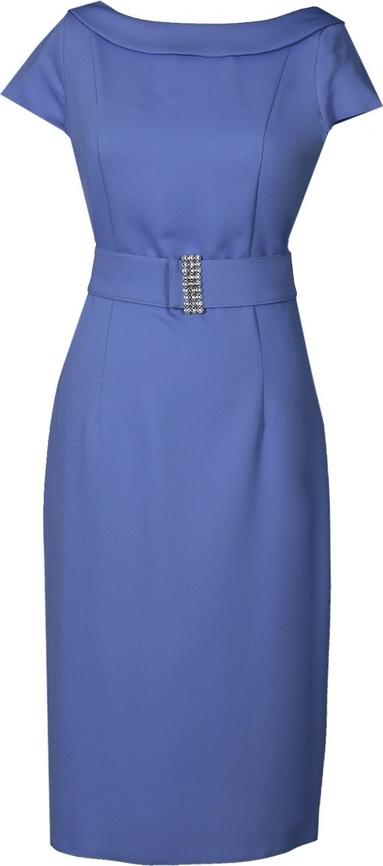 Niebieska sukienka Fokus z krótkim rękawem midi ołówkowa