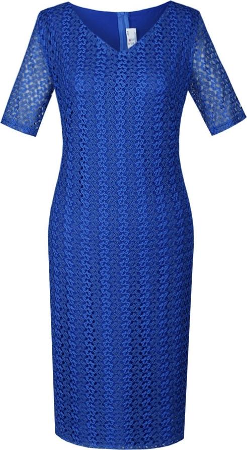 Niebieska sukienka Fokus z krótkim rękawem ołówkowa