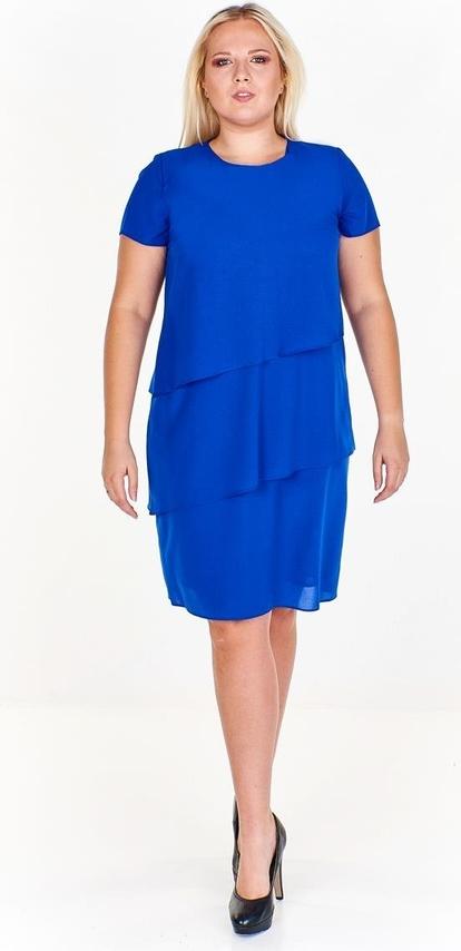 Niebieska sukienka Fokus z okrągłym dekoltem asymetryczna z krótkim rękawem