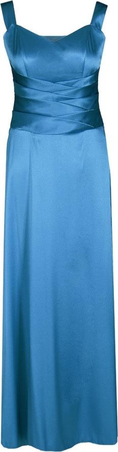 Niebieska sukienka Fokus z satyny