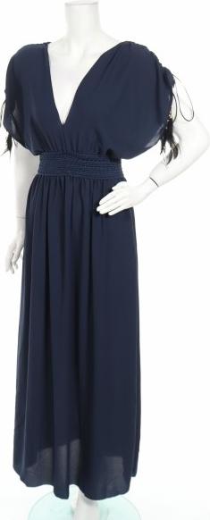 Niebieska sukienka French Code maxi z dekoltem w kształcie litery v