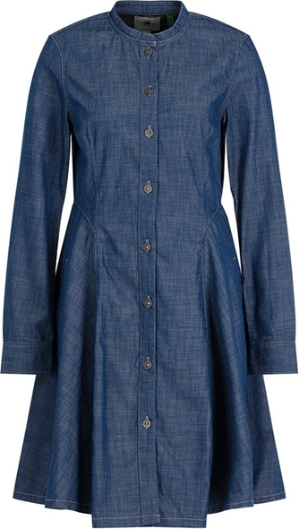 Niebieska sukienka G-Star Raw koszulowa z długim rękawem