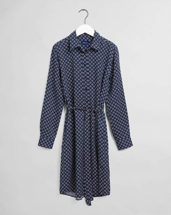 Niebieska sukienka Gant z długim rękawem
