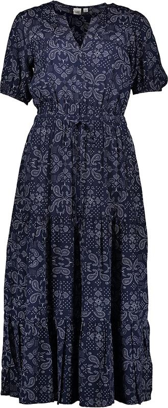 Niebieska sukienka Gap midi z krótkim rękawem rozkloszowana