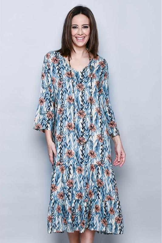 Niebieska sukienka H.H.G. z długim rękawem