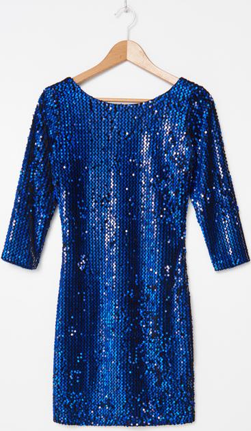 Niebieska sukienka House z długim rękawem