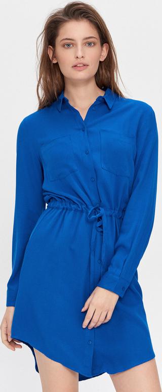 Niebieska sukienka House z długim rękawem mini w stylu casual