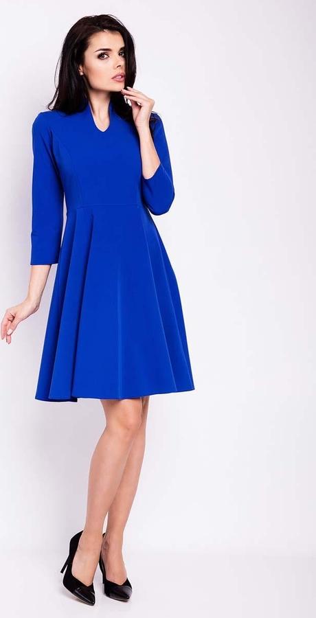 Niebieska sukienka Infinite You trapezowa z długim rękawem midi