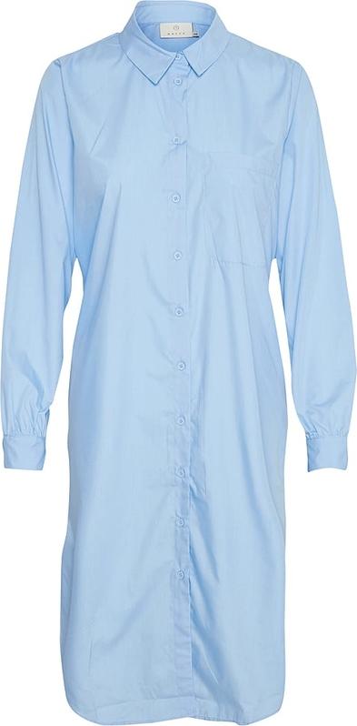 Niebieska sukienka Kaffe koszulowa mini z długim rękawem