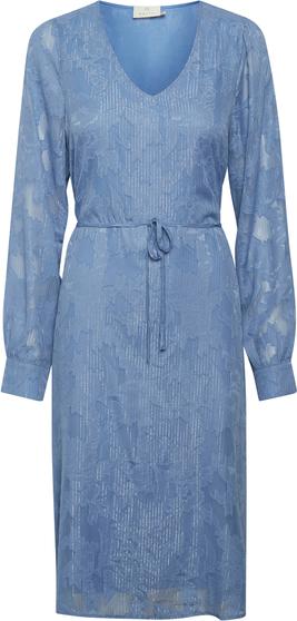 Niebieska sukienka Kaffe w stylu casual z dekoltem w kształcie litery v koszulowa