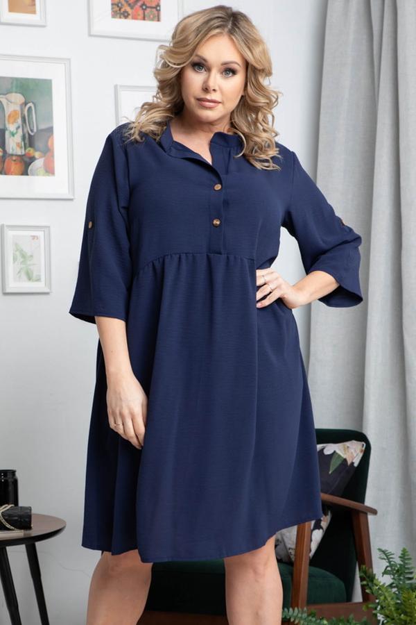 Niebieska sukienka KARKO dla puszystych mini z długim rękawem