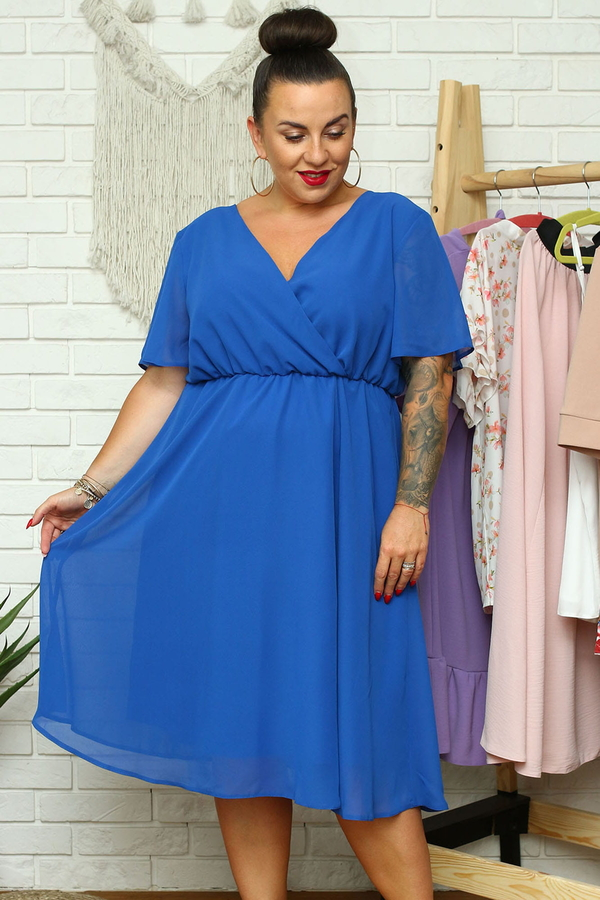Niebieska sukienka KARKO mini kopertowa z dekoltem w kształcie litery v