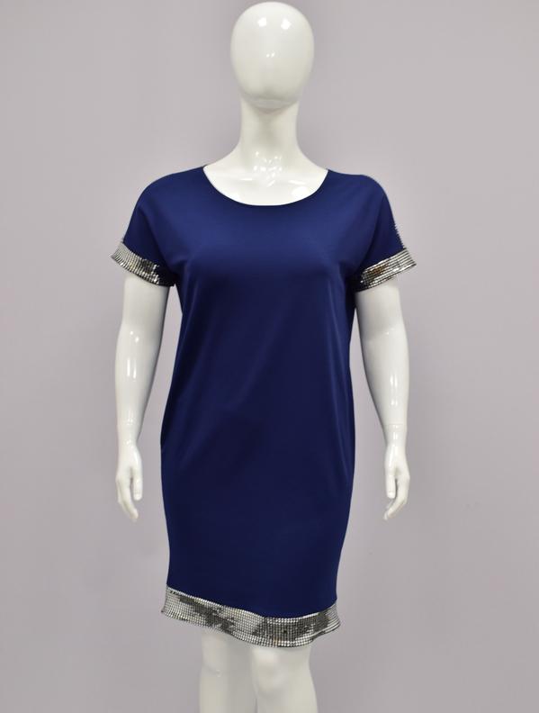 Niebieska sukienka KARKO ołówkowa w stylu casual z okrągłym dekoltem