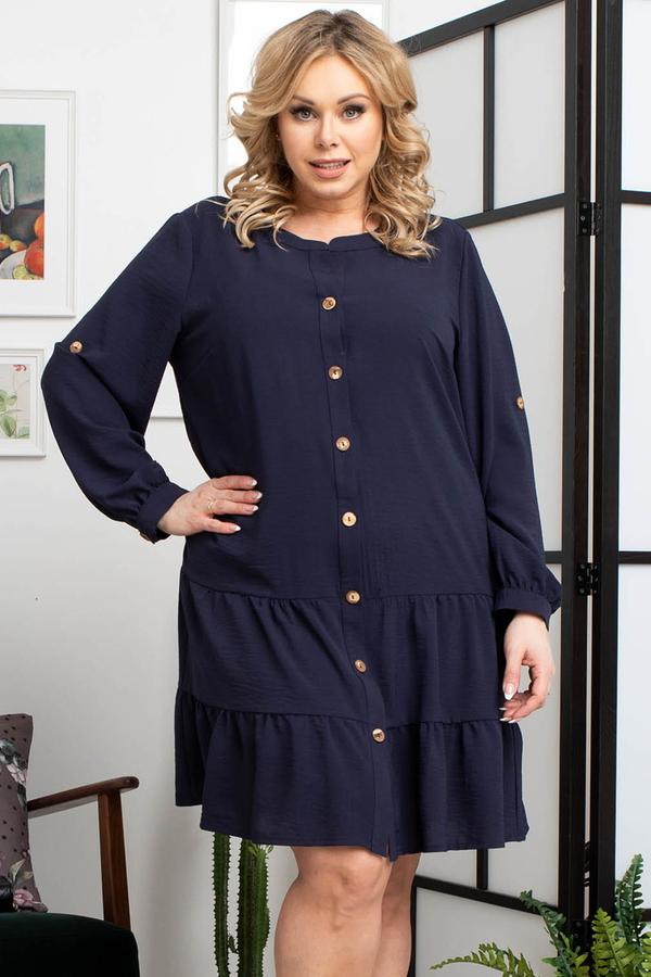 Niebieska sukienka KARKO z długim rękawem z okrągłym dekoltem szmizjerka