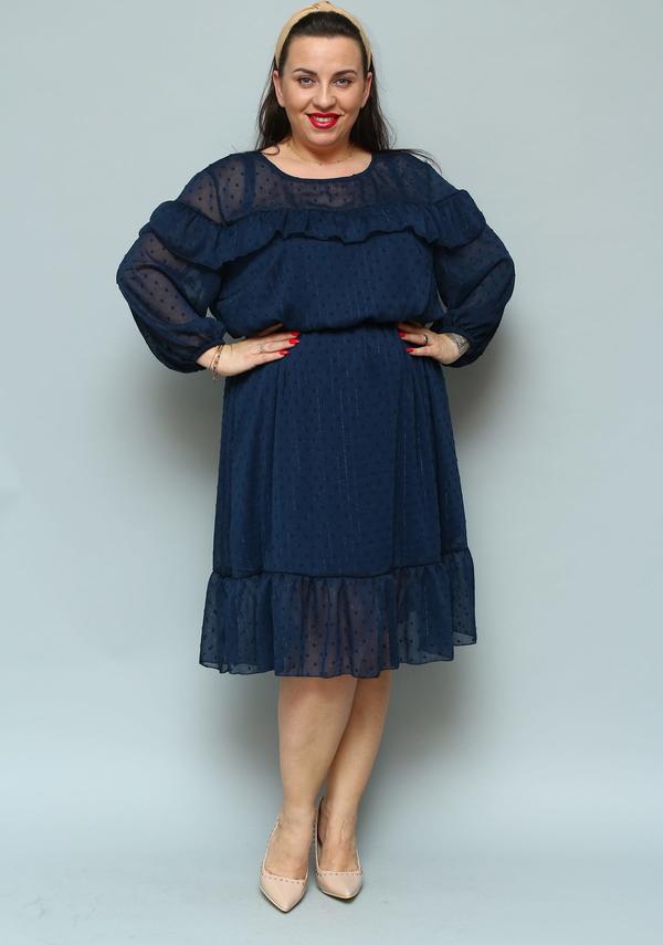 Niebieska sukienka KARKO z szyfonu z długim rękawem