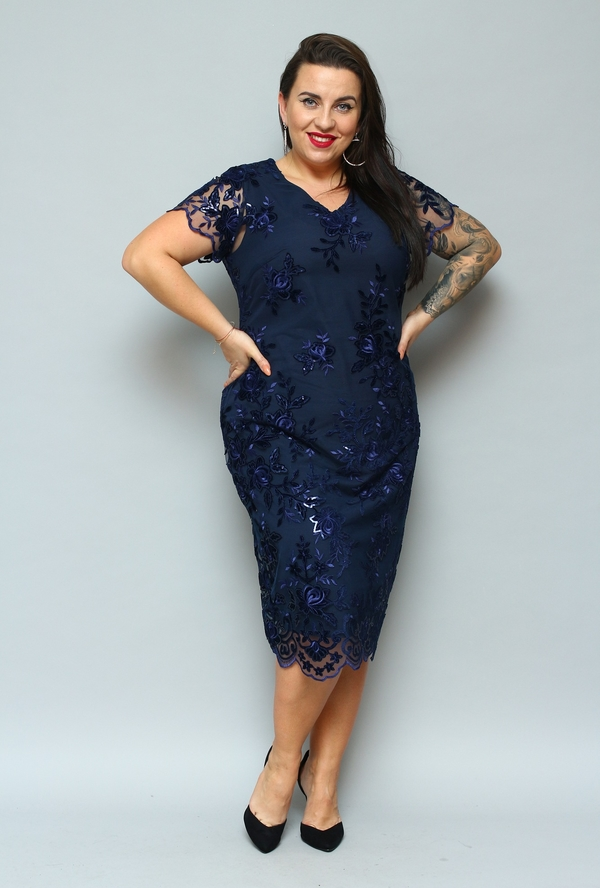 Niebieska sukienka KARKO z tkaniny midi ołówkowa