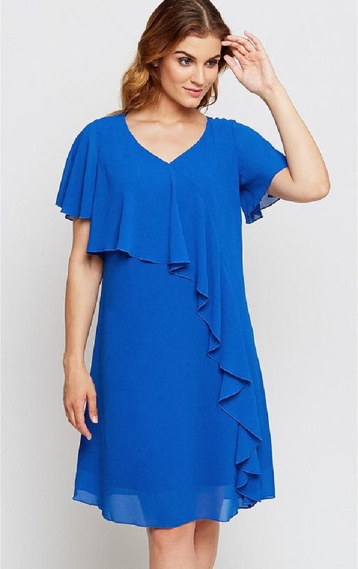 Niebieska sukienka Kaskada midi
