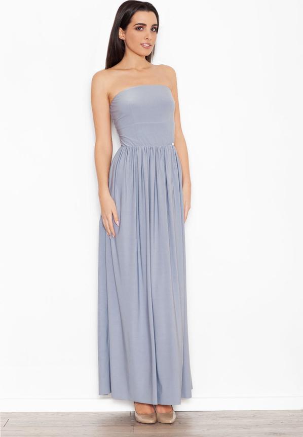 Niebieska sukienka Katrus bez rękawów z bawełny maxi