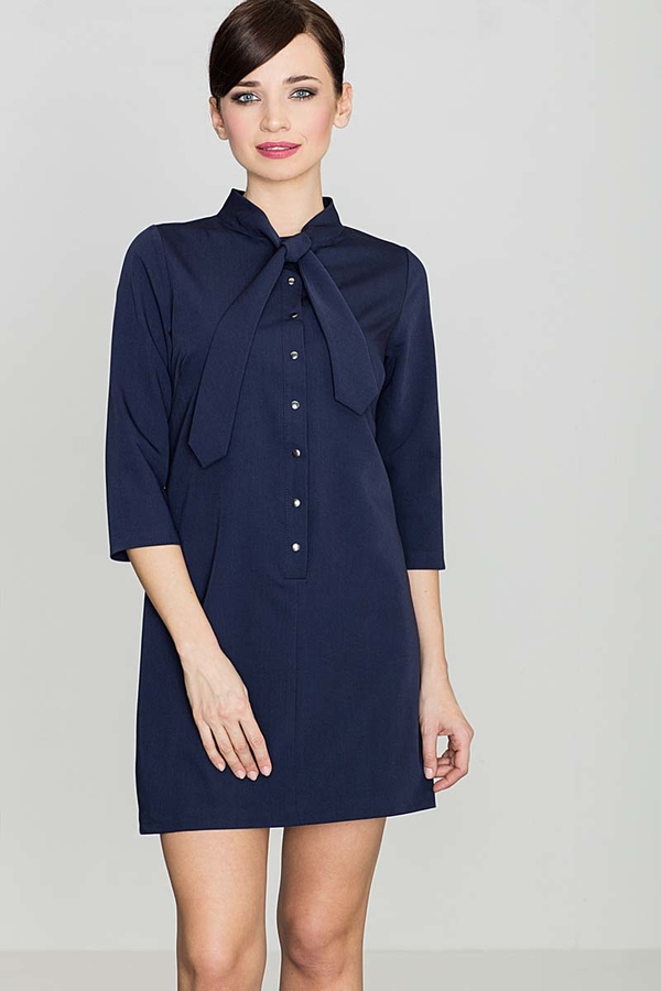 Niebieska sukienka Katrus z długim rękawem w stylu casual koszulowa