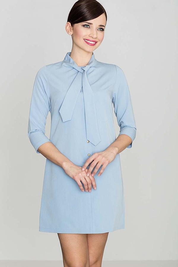Niebieska sukienka Katrus z żabotem