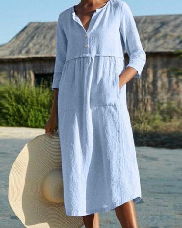 Niebieska sukienka Kendallme maxi koszulowa w stylu casual
