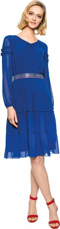 Niebieska sukienka L'AF z tkaniny midi z długim rękawem