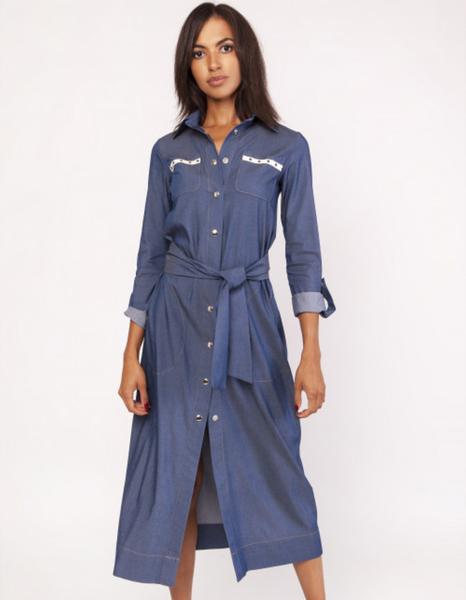 Niebieska sukienka Lanti z długim rękawem z jeansu