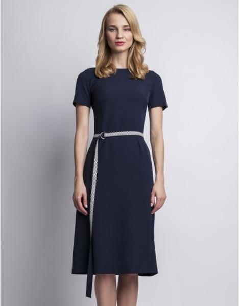 Niebieska sukienka Lanti z okrągłym dekoltem z krótkim rękawem