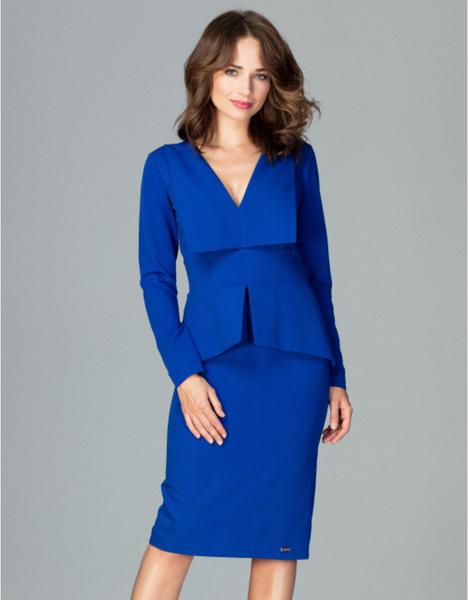 Niebieska sukienka LENITIF midi z dekoltem w kształcie litery v