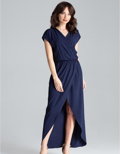 Niebieska sukienka LENITIF z krótkim rękawem z dekoltem w kształcie litery v