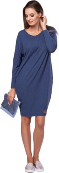 Niebieska sukienka Look made with love oversize z dzianiny