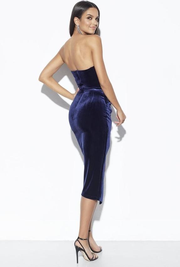 Niebieska sukienka LOU z dekoltem na plecach bez rękawów gorsetowa