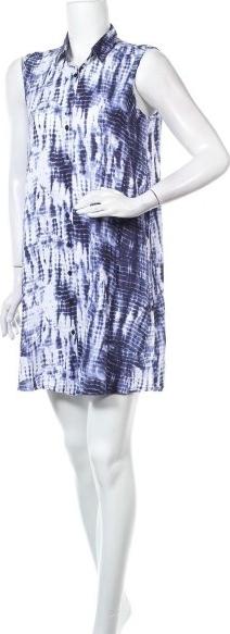 Niebieska sukienka LTB z okrągłym dekoltem bez rękawów mini