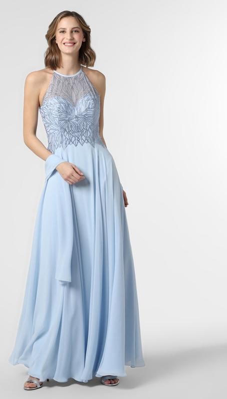 Niebieska sukienka Luxuar Fashion bez rękawów maxi z dekoltem halter