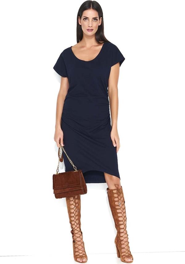 Niebieska sukienka Makadamia midi asymetryczna w stylu casual
