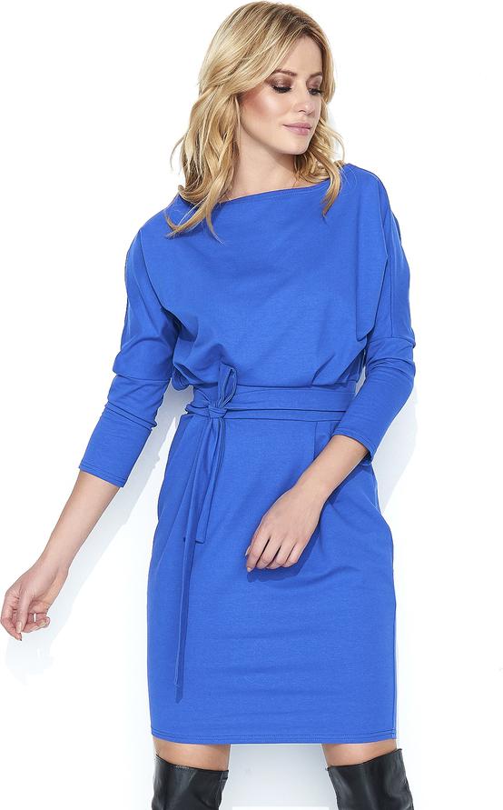 Niebieska sukienka Makadamia w stylu casual bombka z dresówki