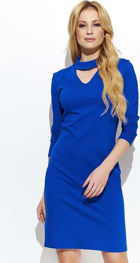 Niebieska sukienka Makadamia z dekoltem typu choker z długim rękawem