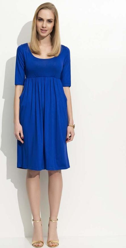 Niebieska sukienka Makadamia z krótkim rękawem