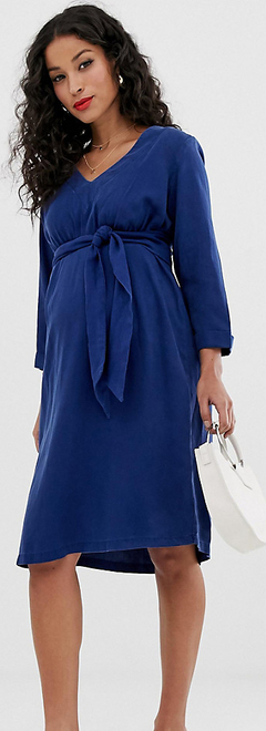 Niebieska sukienka Mama Licious midi