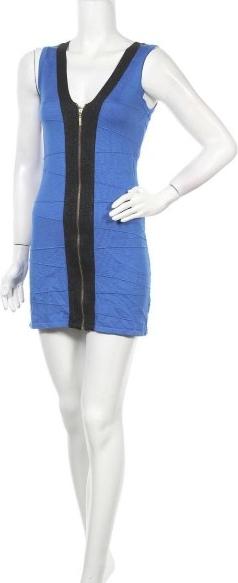 Niebieska sukienka Mandee mini bez rękawów z dekoltem w kształcie litery v