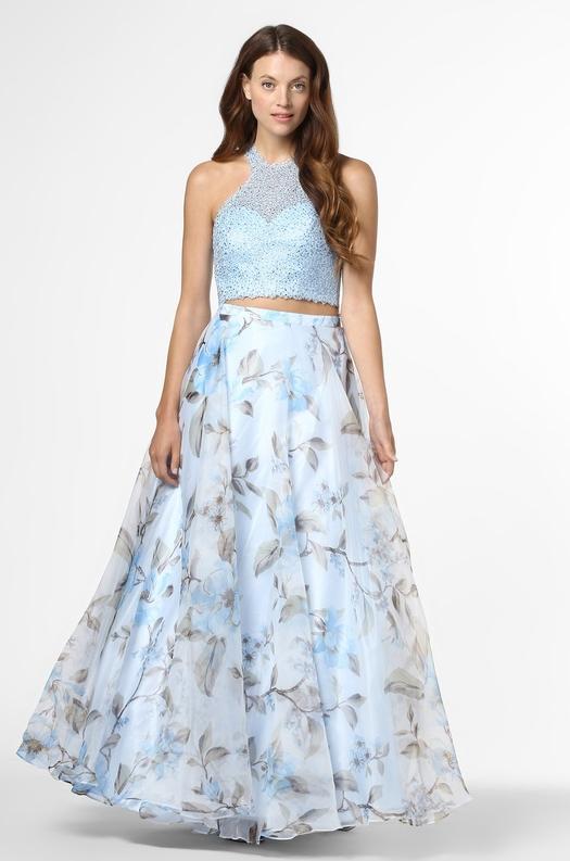 Niebieska sukienka Mascara bez rękawów rozkloszowana