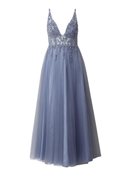 Niebieska sukienka Mascara maxi rozkloszowana