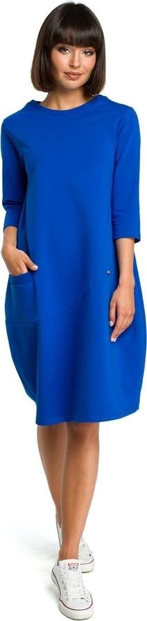 Niebieska sukienka Merg bombka midi w stylu casual