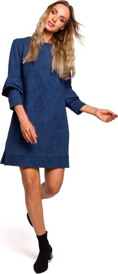 Niebieska sukienka Merg z okrągłym dekoltem trapezowa mini