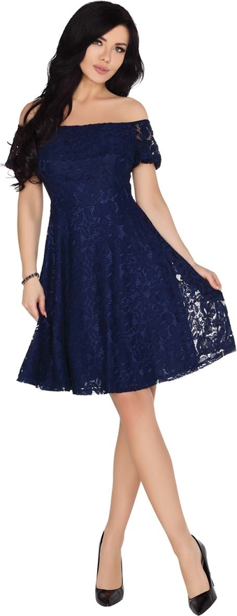Niebieska sukienka MERRIBEL z krótkim rękawem hiszpanka midi