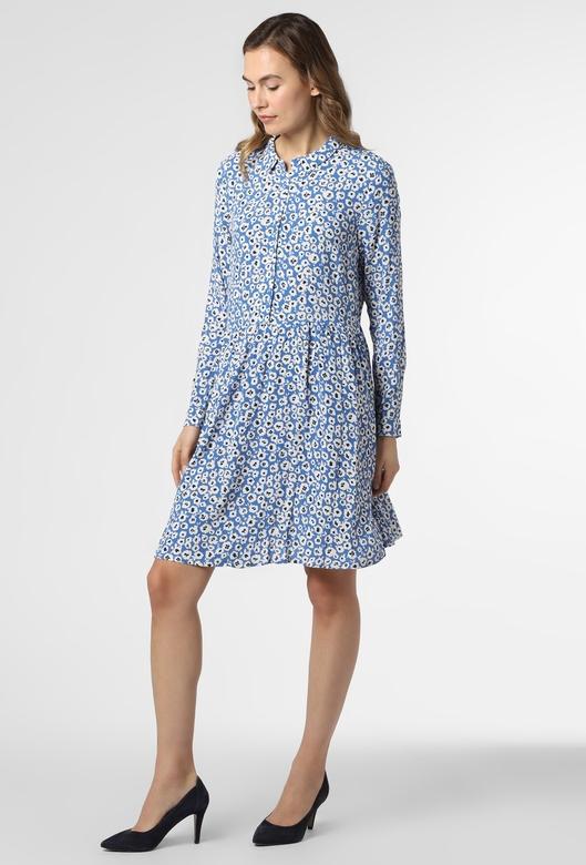 Niebieska sukienka Minimum rozkloszowana mini z kołnierzykiem