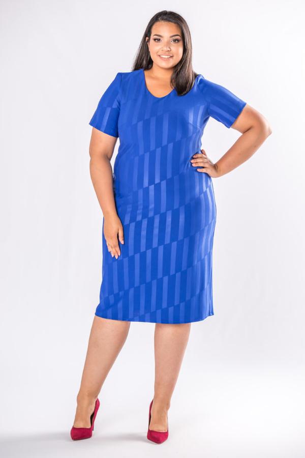 Niebieska sukienka Moda Dla Ciebie midi z bawełny dopasowana