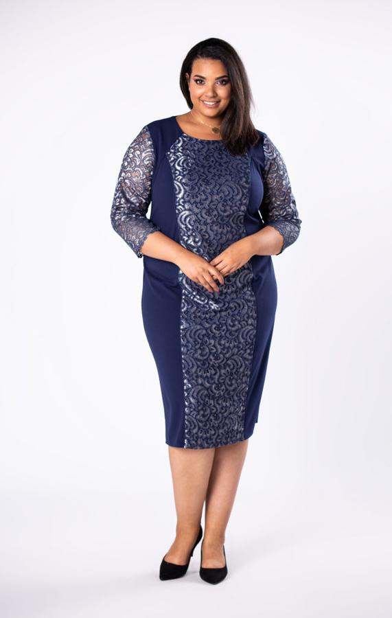 Niebieska sukienka Moda Dla Ciebie ołówkowa z okrągłym dekoltem midi