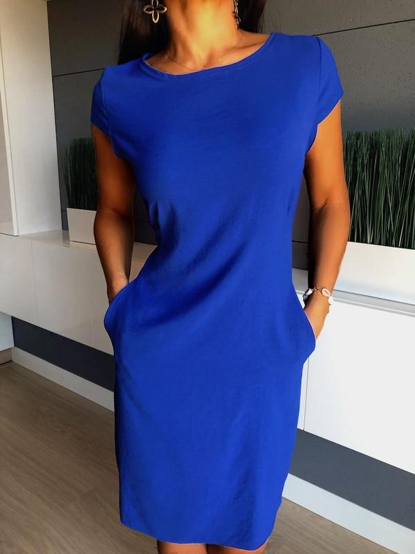 Niebieska sukienka ModnaKiecka.pl prosta mini z okrągłym dekoltem