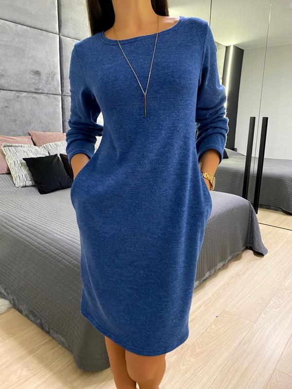 Niebieska sukienka ModnaKiecka.pl z długim rękawem